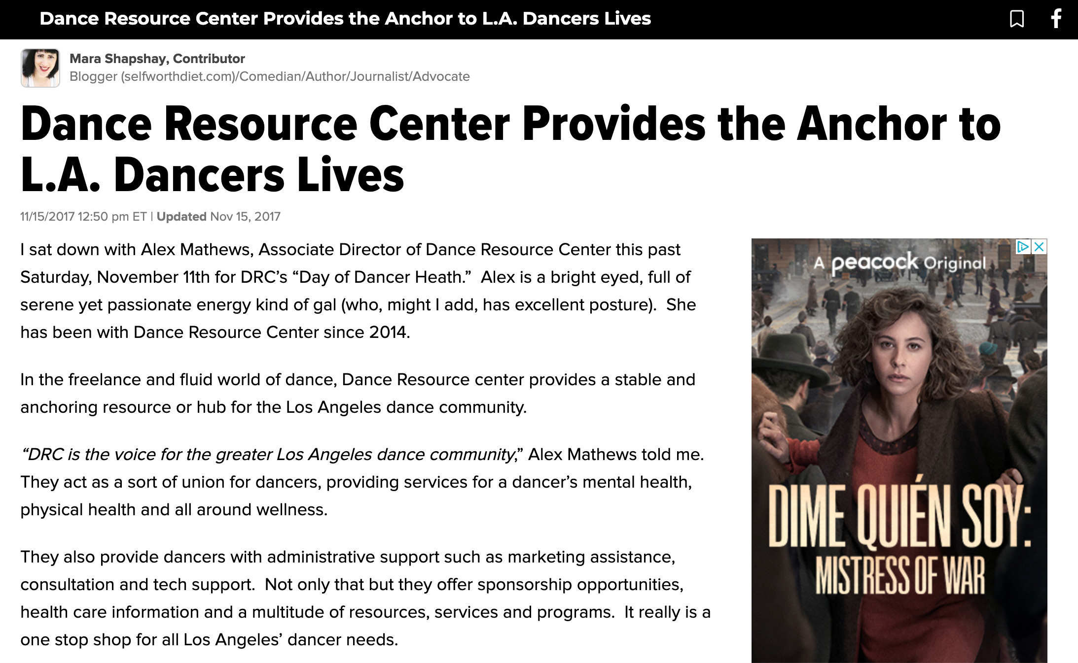 Dance Resource Center provides the anchor to L.A. Dancers lives Huffpost article.