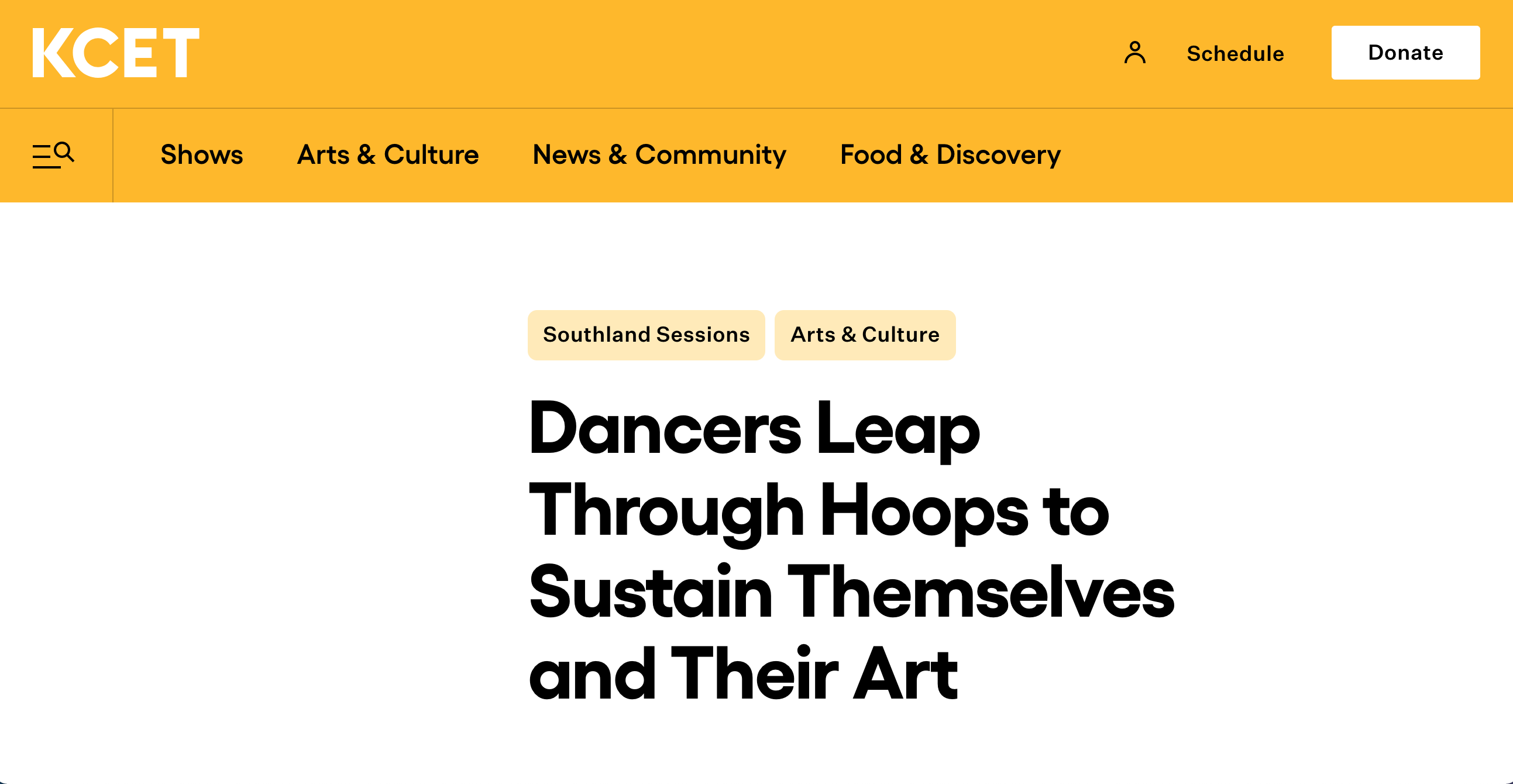 KCET article, Dancers leap through hoops to sustain themselves and their art