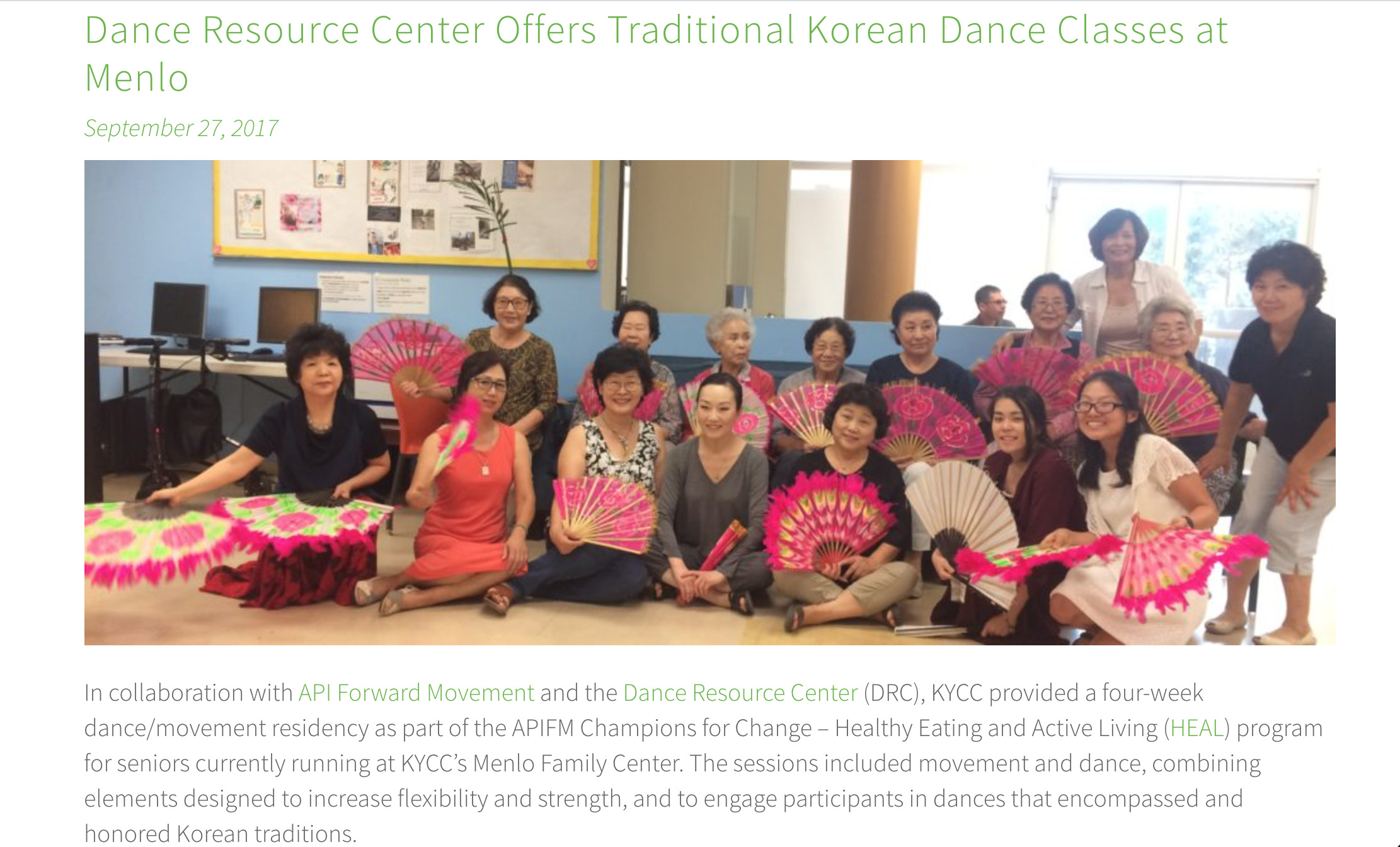 Dance Resource Center offers traditional Korean dance classes at Menlo article.