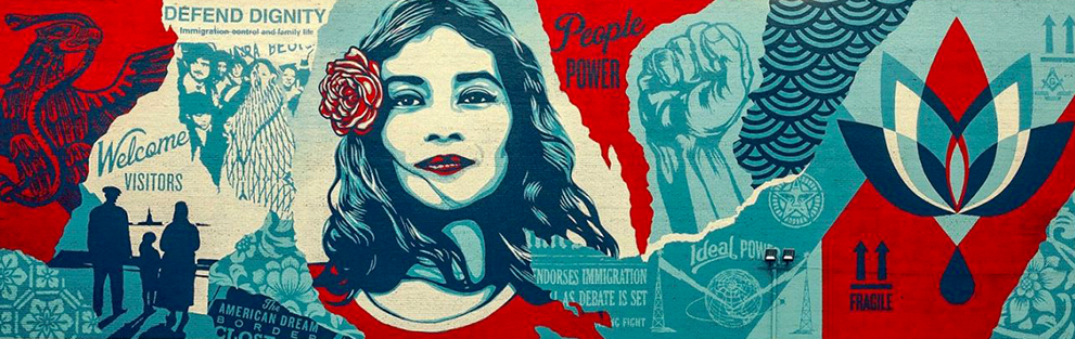 Defend dignity street art mural by Shepard Fairey creator of Obey Giant located in downtown los angeles California.