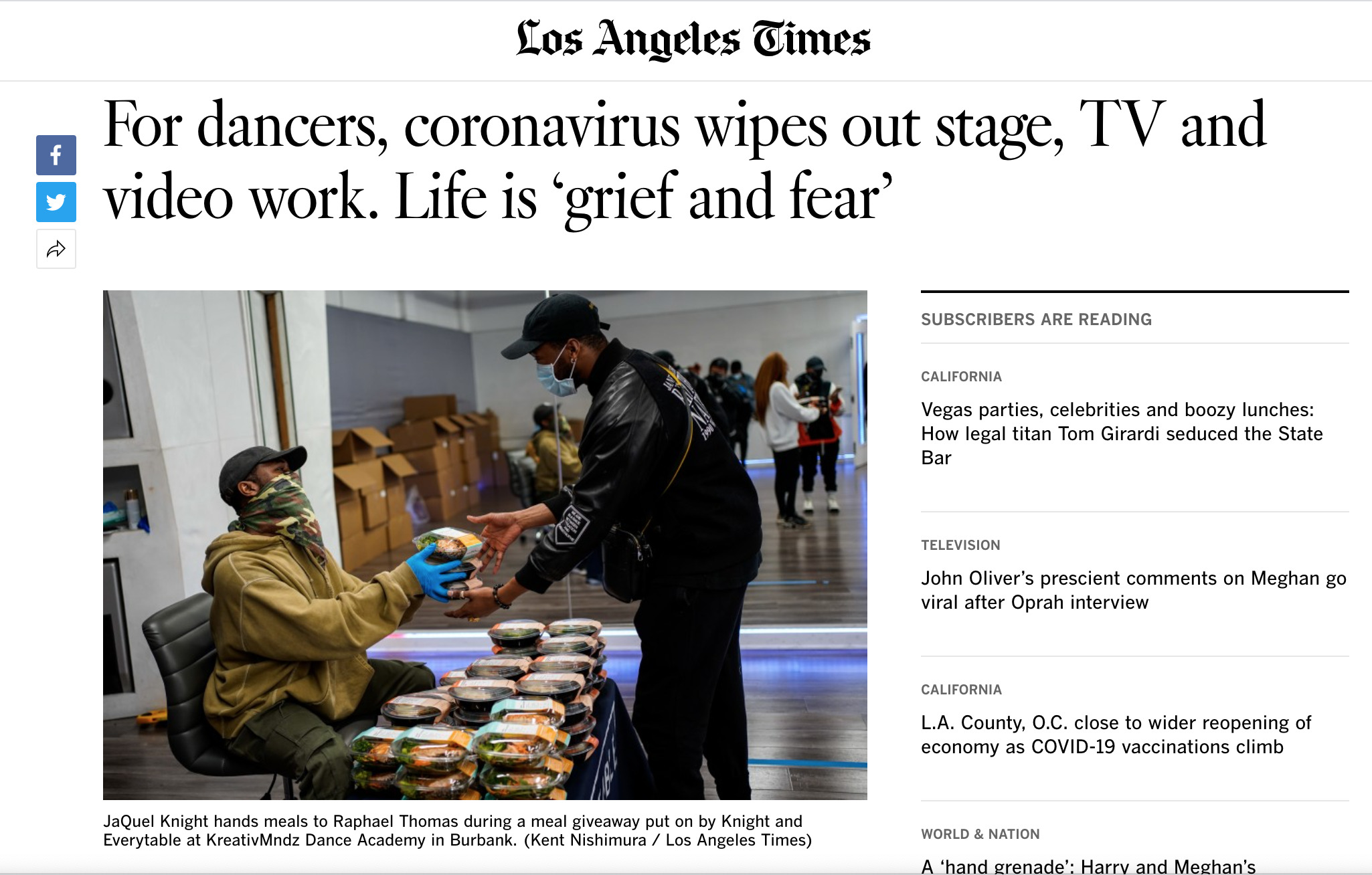 For dancers, coronavirus wipes out stage, TV and video work. Life is 'grief & fear LA Times article.