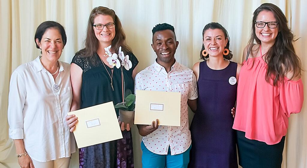 Adjudicators smiling with Lester Horton Award recipients.