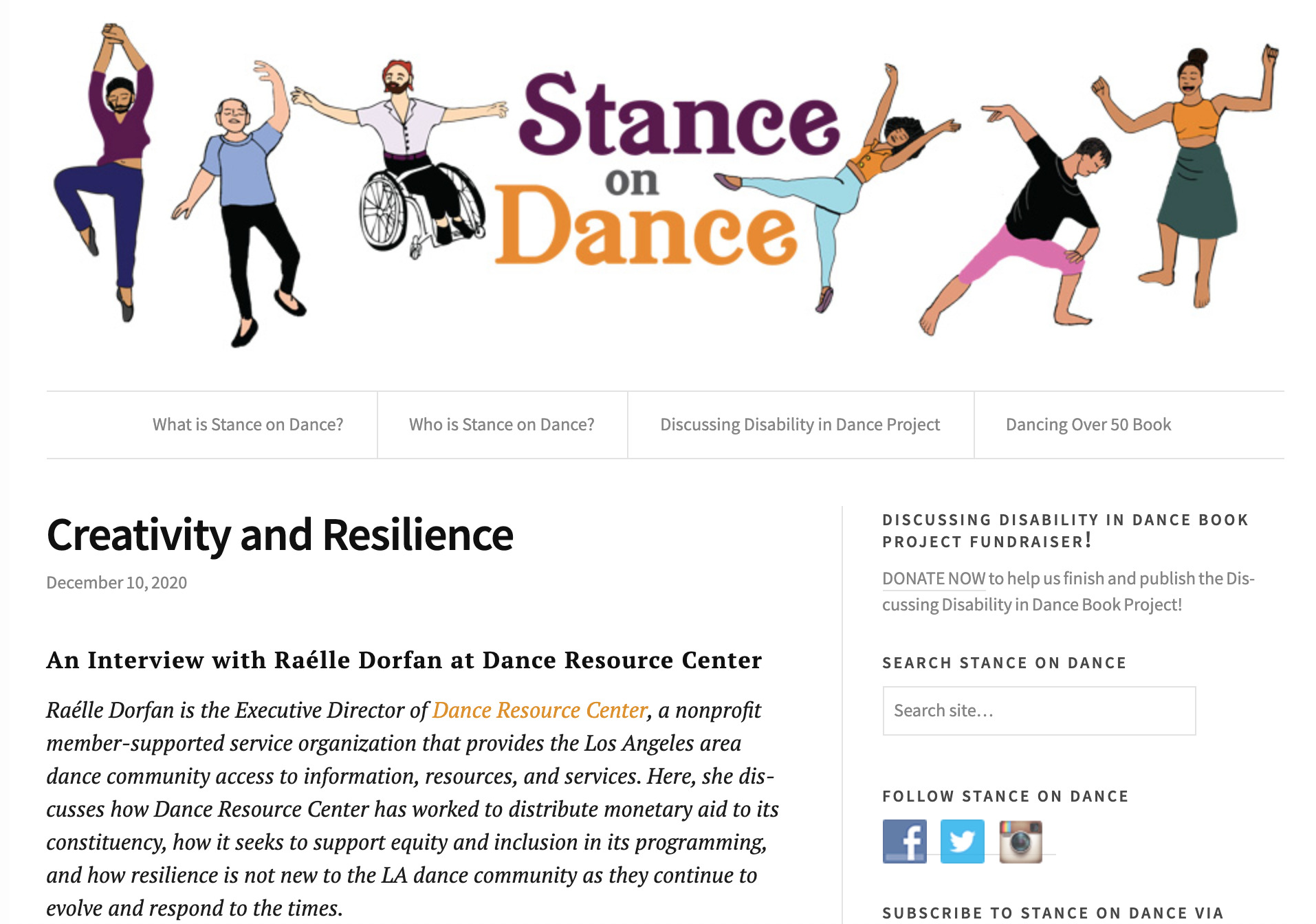 Stance on Dance interview with Raélle Dorfan at Dance Resource Center article.