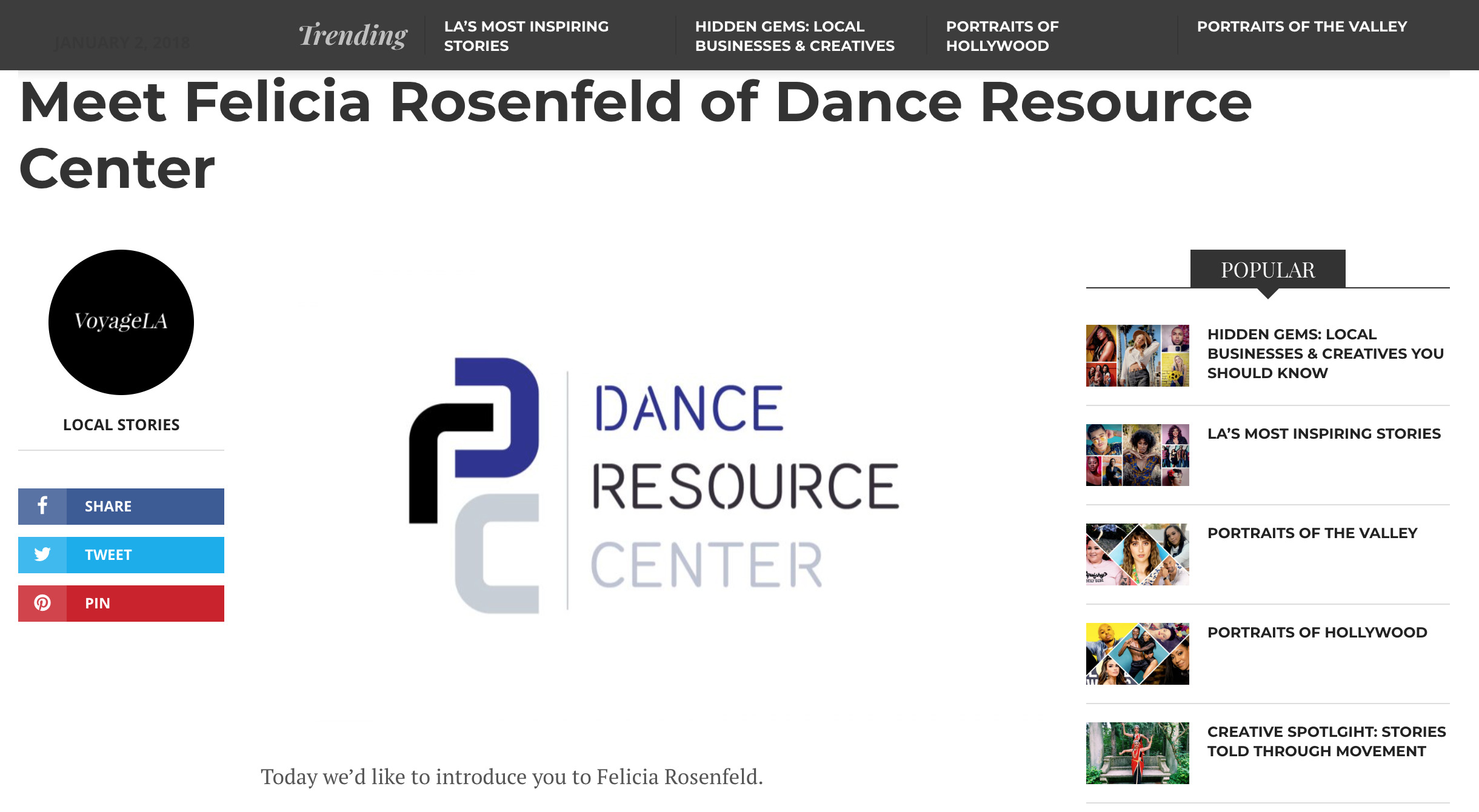 Voyage LA article about Felicia Rosenfeld of the Dance Resource Center.