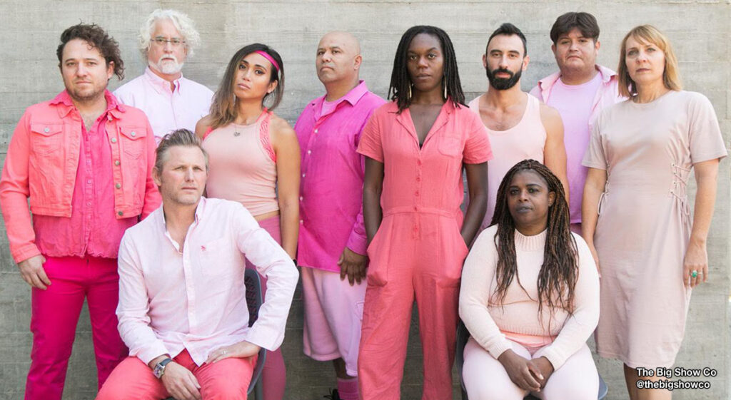Diverse group of people wearing shades of pink from @thebigshowco dance company.